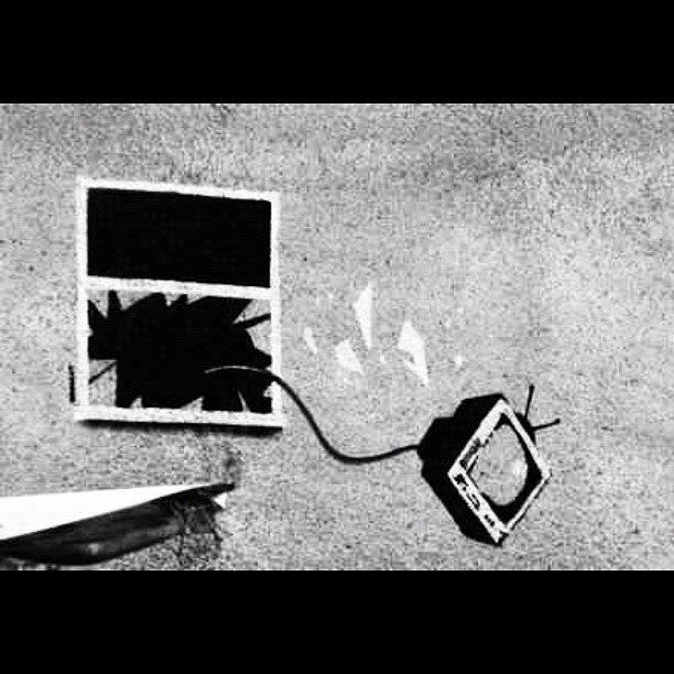 Stencil Photograph - #banksy #tv #stencil #streetart by A Rey
