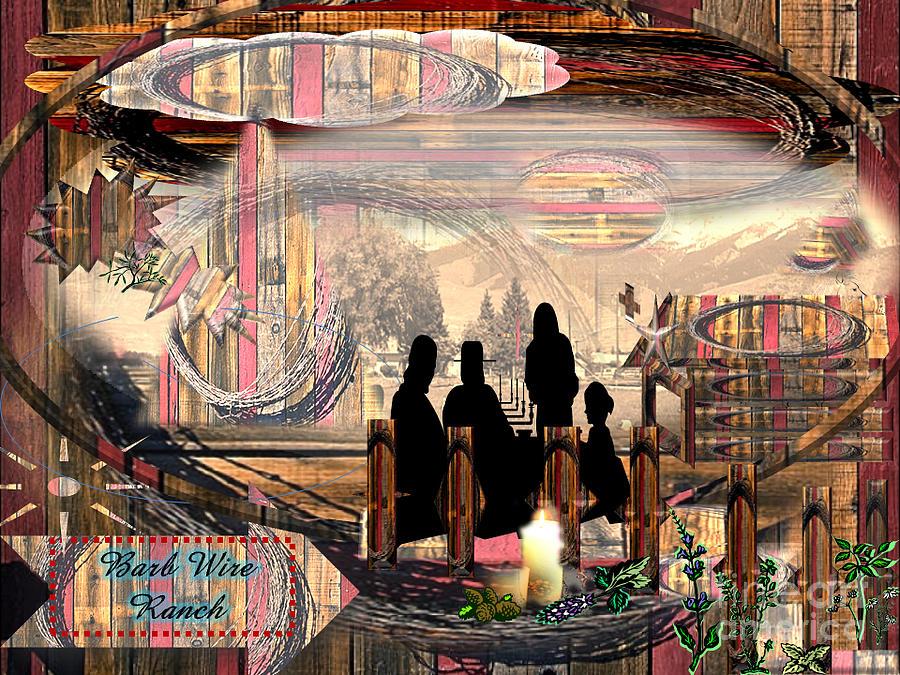 Rainbow Digital Art - Barb Wired Ranch Exhibit by Catherine Herbert