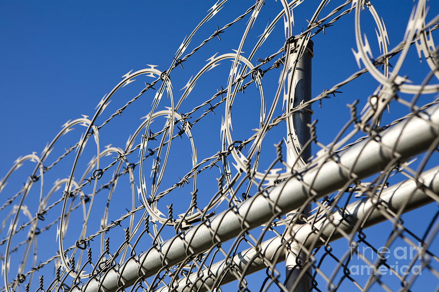 Barbed Wire Photograph - Barbed Wire And Chain Link Fence by Paul Edmondson