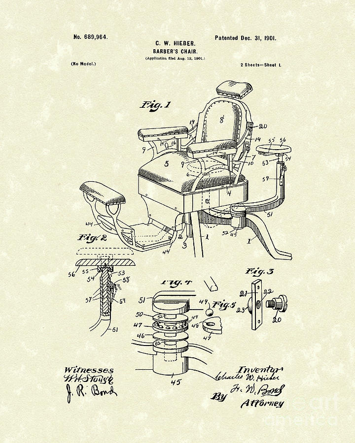 Barber S Chair 1901 Patent Art Drawing By Prior Art Design