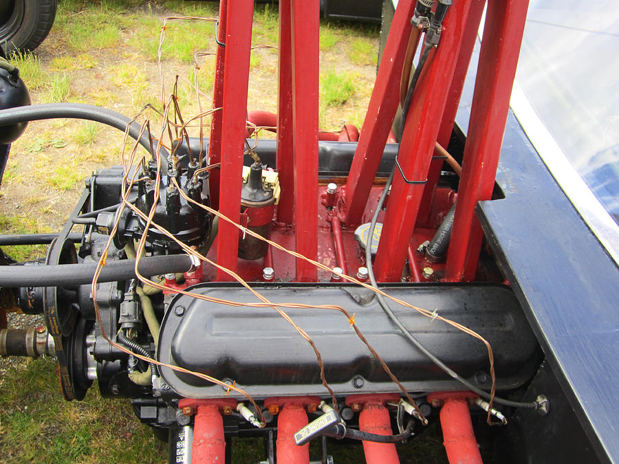Rat Rod Engine Photograph - Barbwire Engine by Kym Backland