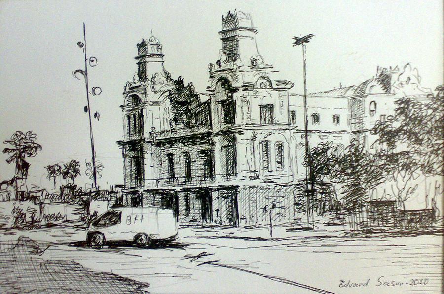 Barcelona 2010 Drawing by Edvard  Sasun