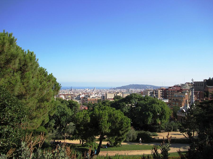 Parc Guell Photograph - Barcelona Panoramic View From Park Guell In Spain by John Shiron