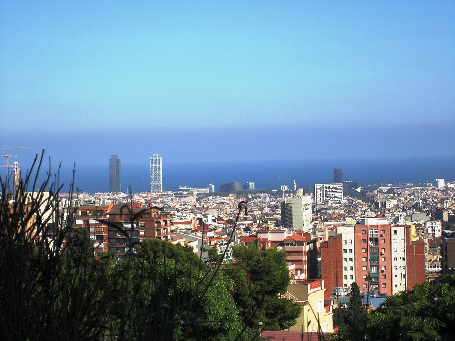 Parc Guell Photograph - Barcelona Panoramic View IIi From Park Guell In Spain by John Shiron