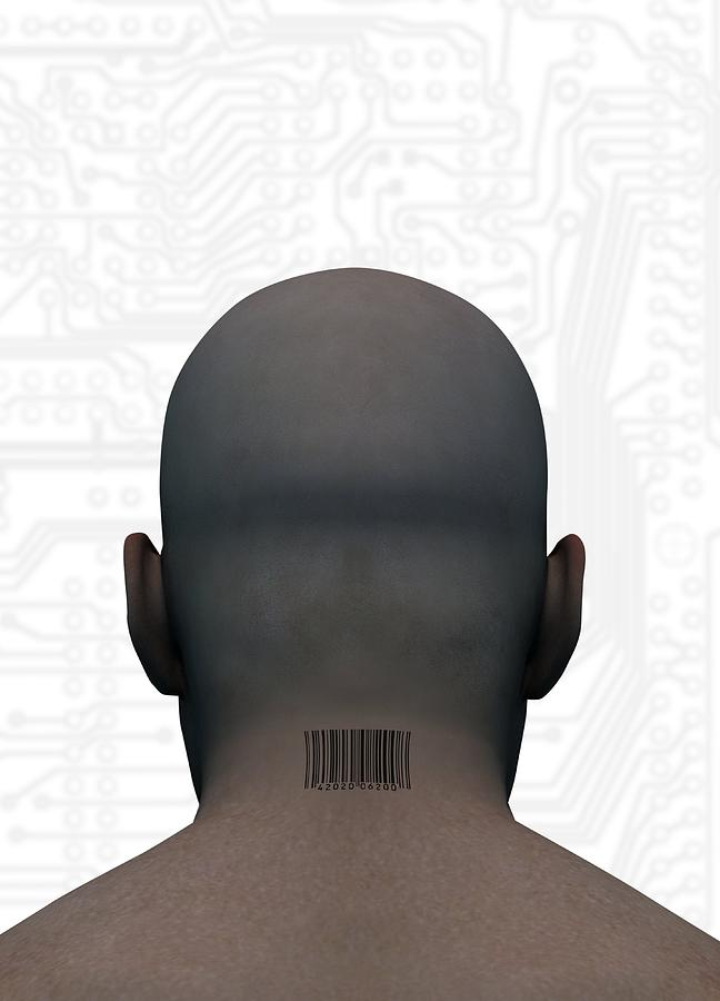 Human Head Photograph - Barcoded Man, Artwork by Victor Habbick Visions