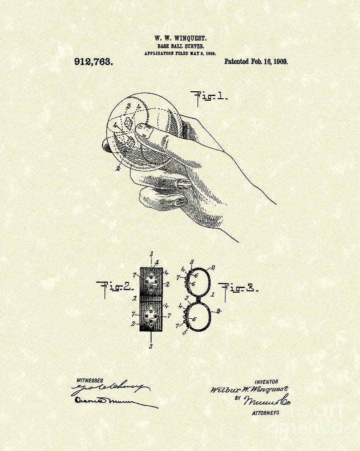 Winquest Drawing - Bare Ball Curver 1909 Patent Art by Prior Art Design