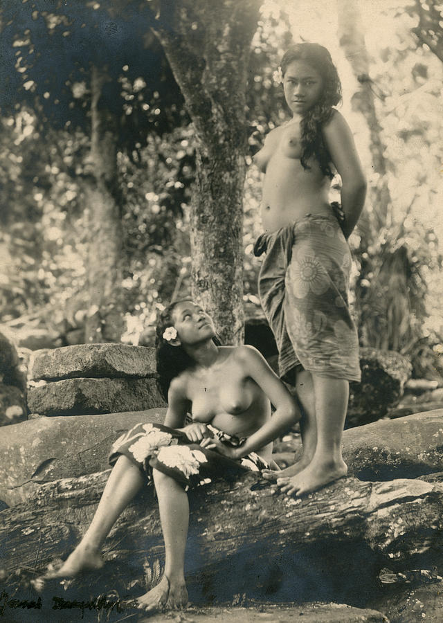 Day Photograph - Bare-breasted Marquesas Islands Girls by J.W. Church