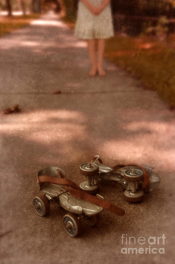 Barefoot Photograph - Barefoot Girl On Sidewalk With Roller Skates by Jill Battaglia