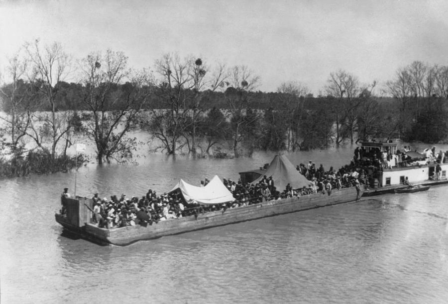 History Photograph - Barge Loaded With Poor African American by Everett