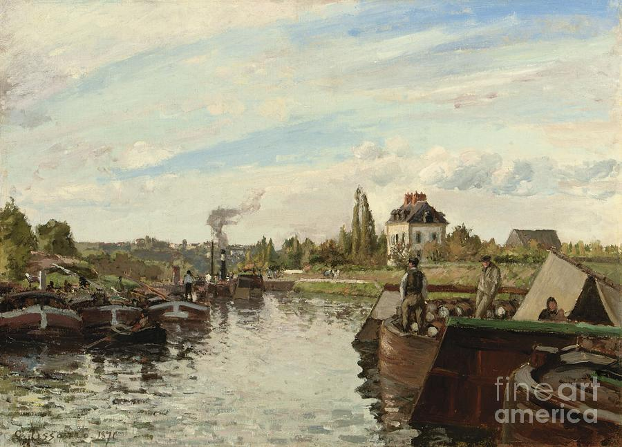 Boats Painting - Barge On The Seine At Bougival by Camille Pissarro