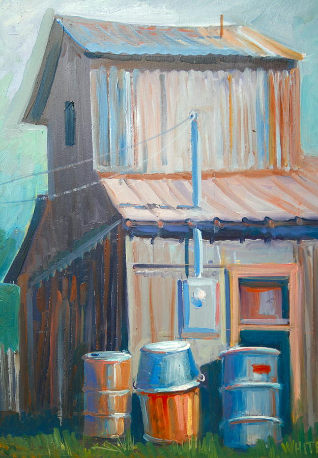 Architecture Painting - Barn And Barrels by Virginia White