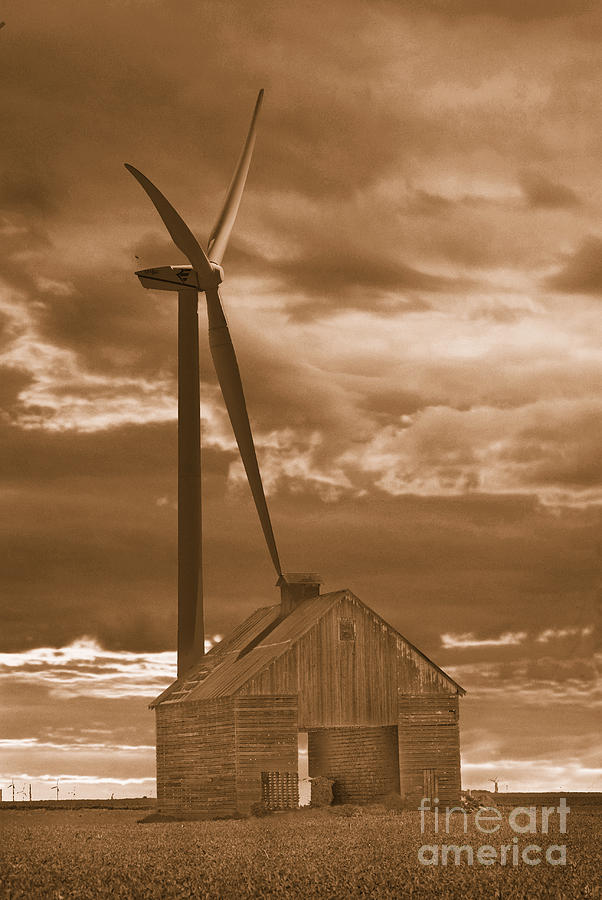 Wind Photograph - Barn And Windmill 2 by Jim Wright