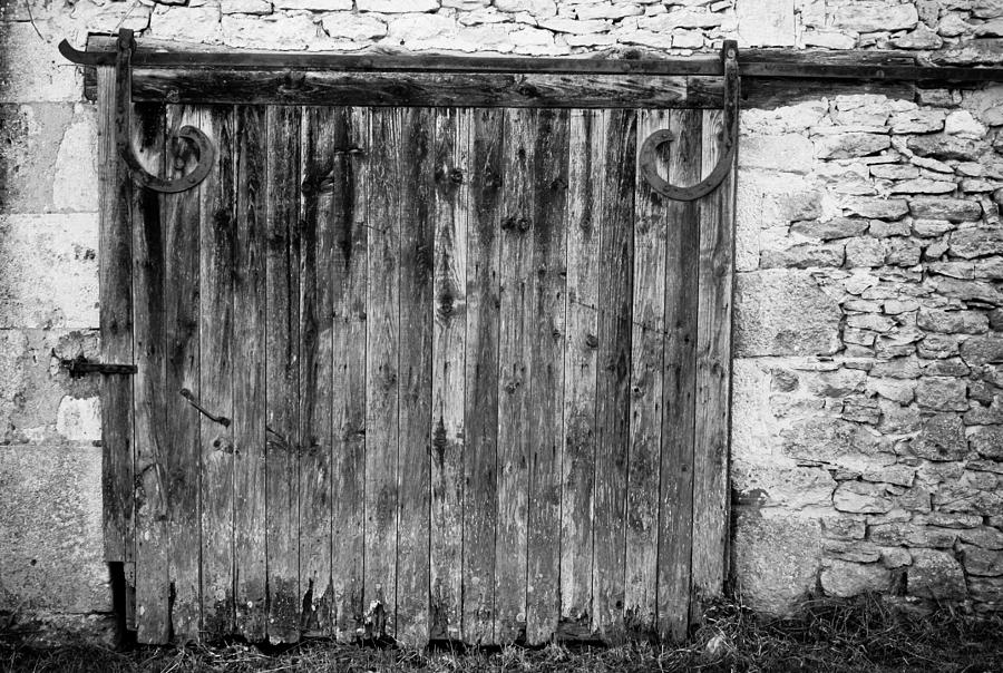 Black And White Photograph - Barn Door by Georgia Fowler