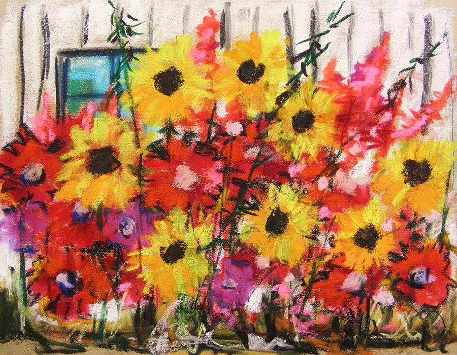 Pastel Painting - Barn Garden by John Williams