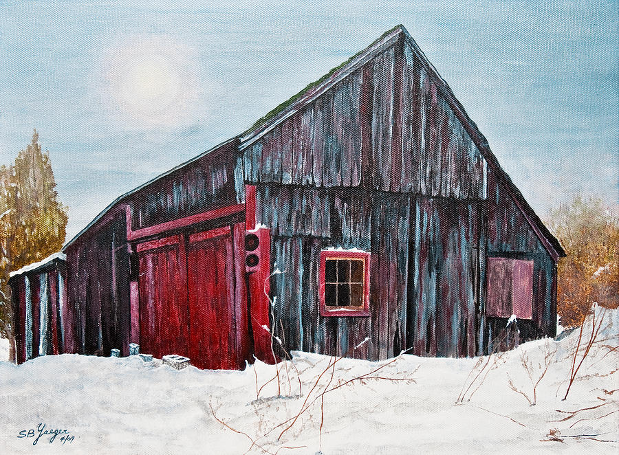 Barn In Snow Southbury Ct Painting by Stuart B Yaeger