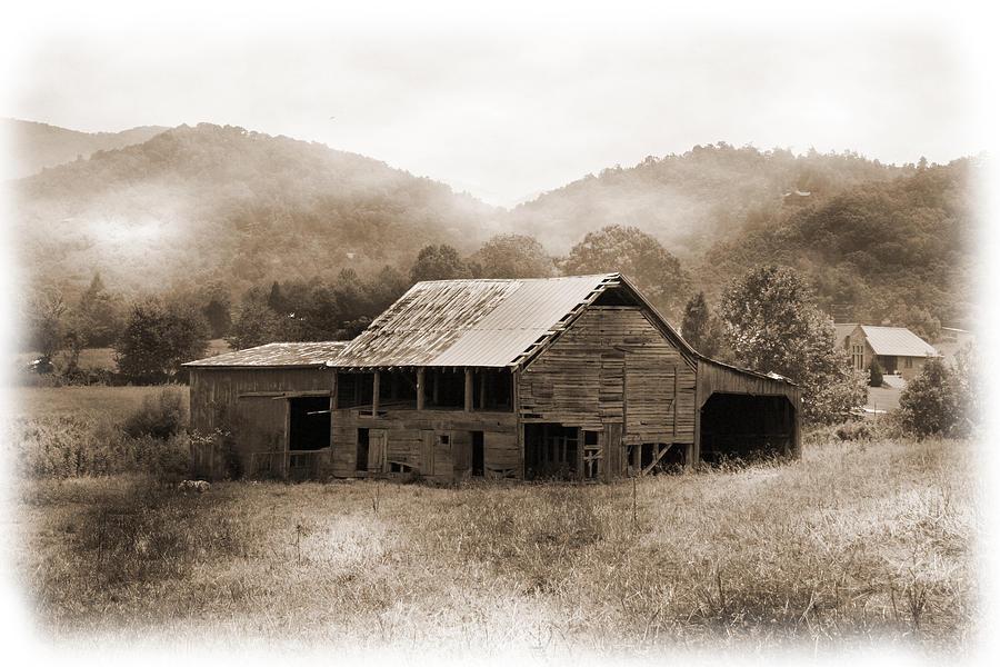 Barn Photograph - Barn In The Mist by Barry Jones