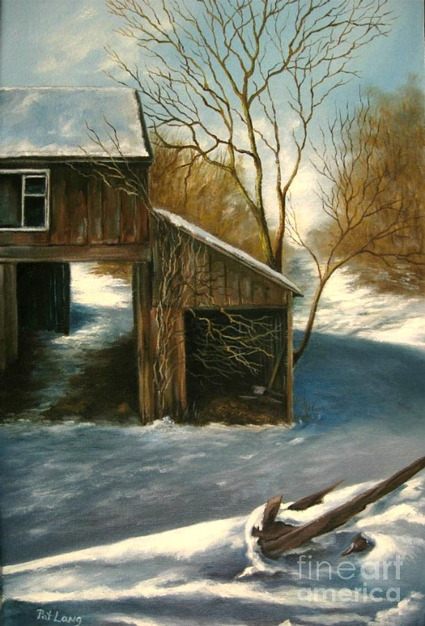 Barn Painting - Barn In The Snow by Patricia Lang