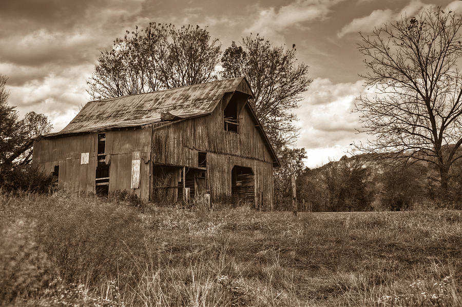 Barn Photograph - Barn In Turbulent Sky by Douglas Barnett
