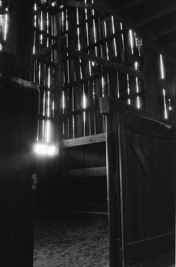 Barn Photograph - Barn Interior True Bw by Katherine Huck Fernie Howard