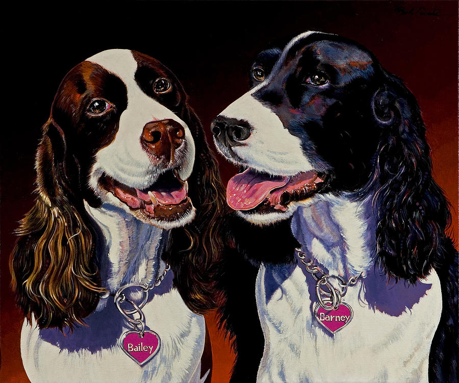Dog Paintings Painting - Barney And Bailey by Bob Coonts