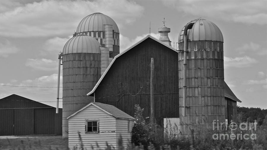 Black And White Photograph - Barns And Silos Black And White by Pamela Walrath
