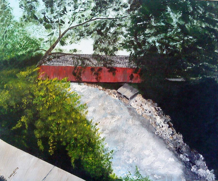 Bridge Painting - Barrackville Covered Bridge by Carol Van Sickle