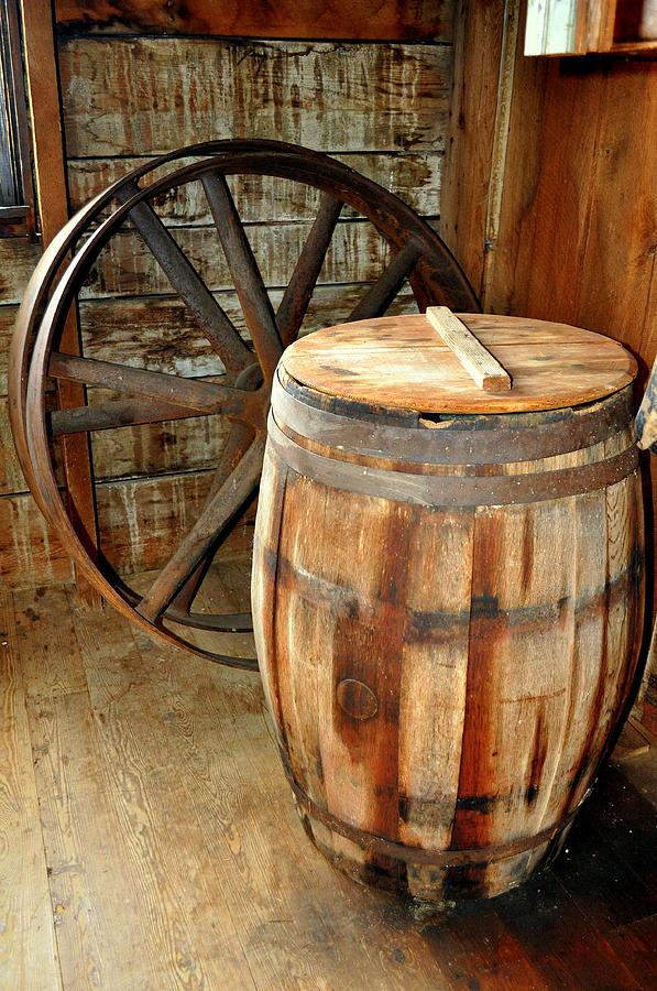 Still Life Photograph - Barrel And Wheel by Marty Koch