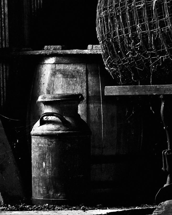 Antique Photograph - Barrel In The Barn by Jim Finch