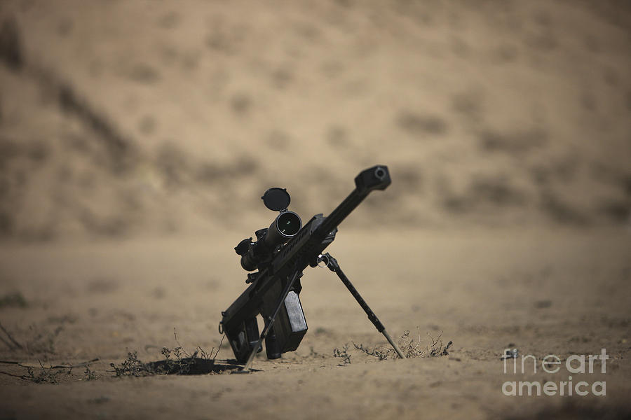 Kunduz Photograph - Barrett M82a1 Rifle Sits Ready by Terry Moore