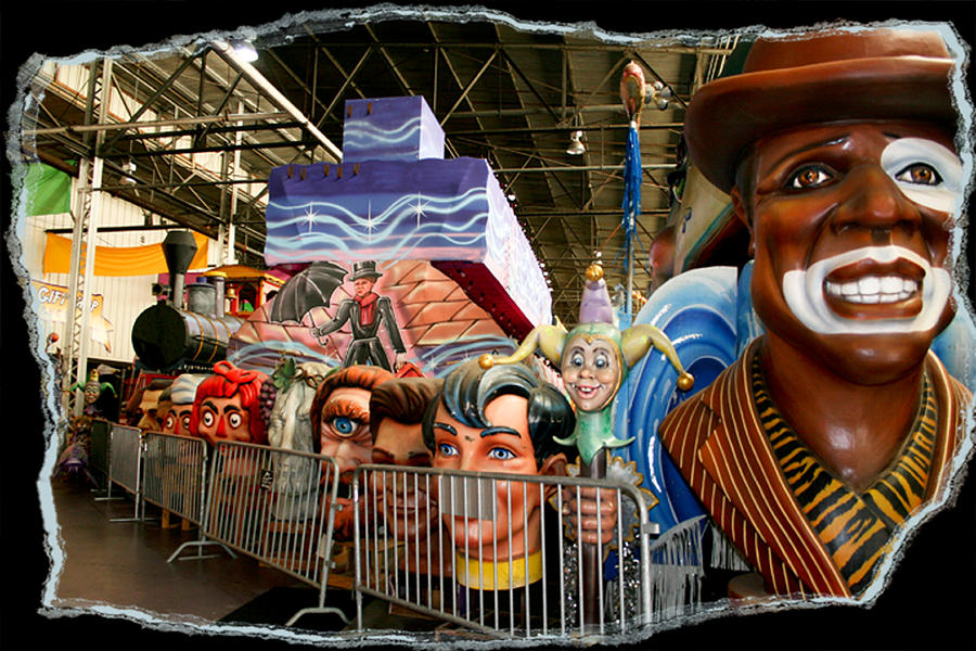 Mardi Gras World Photograph - Barricade Heads by Linda Kish