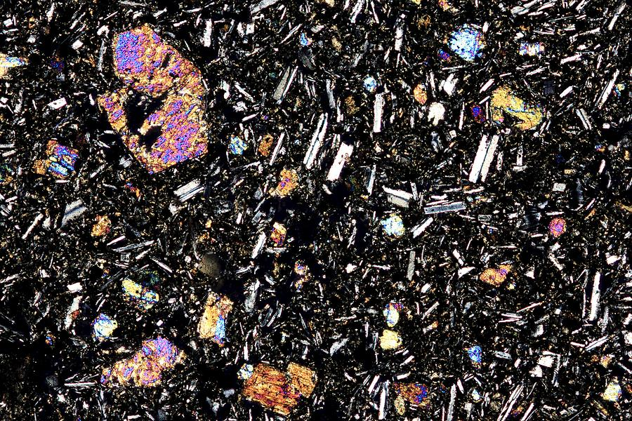Basalt Thin Section Polarised Lm Photograph By Pasieka