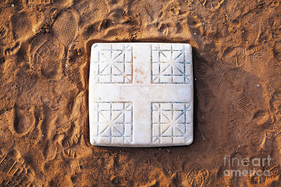 Base Photograph - Base On Baseball Field by Skip Nall