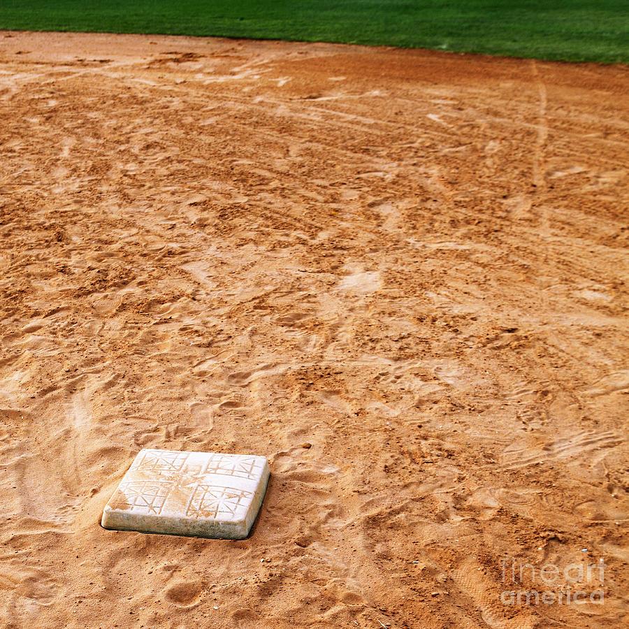 Base Photograph - Baseball Field Base by Skip Nall