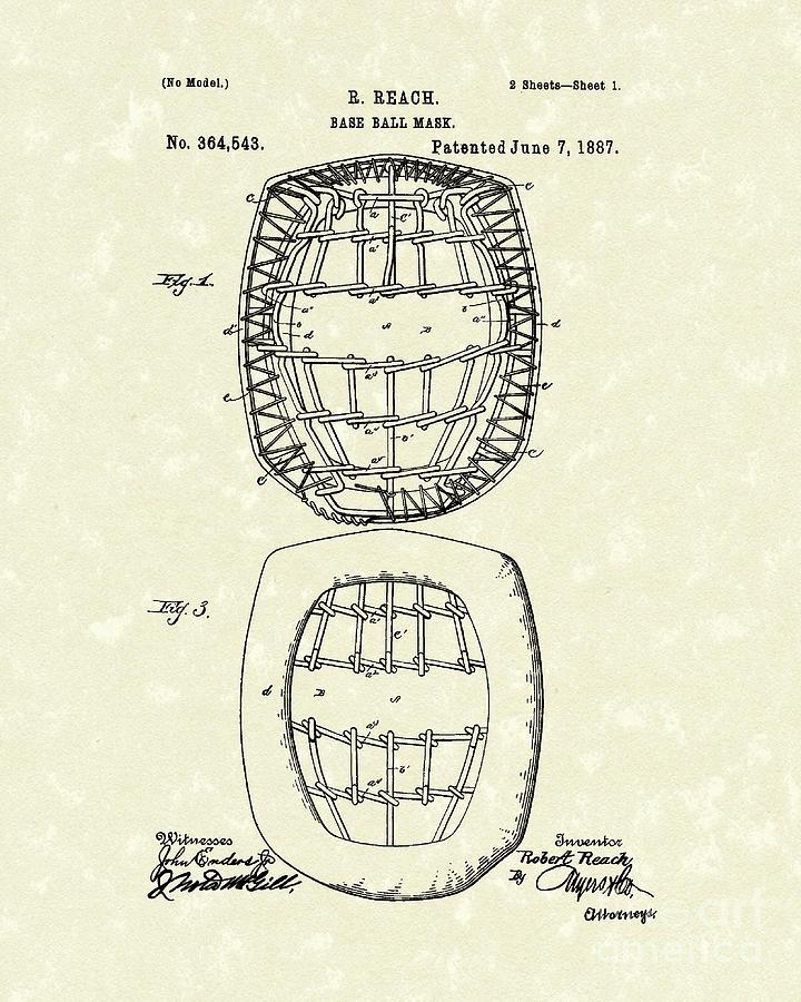 Baseball Drawing - Baseball Mask 1887 Patent Art by Prior Art Design