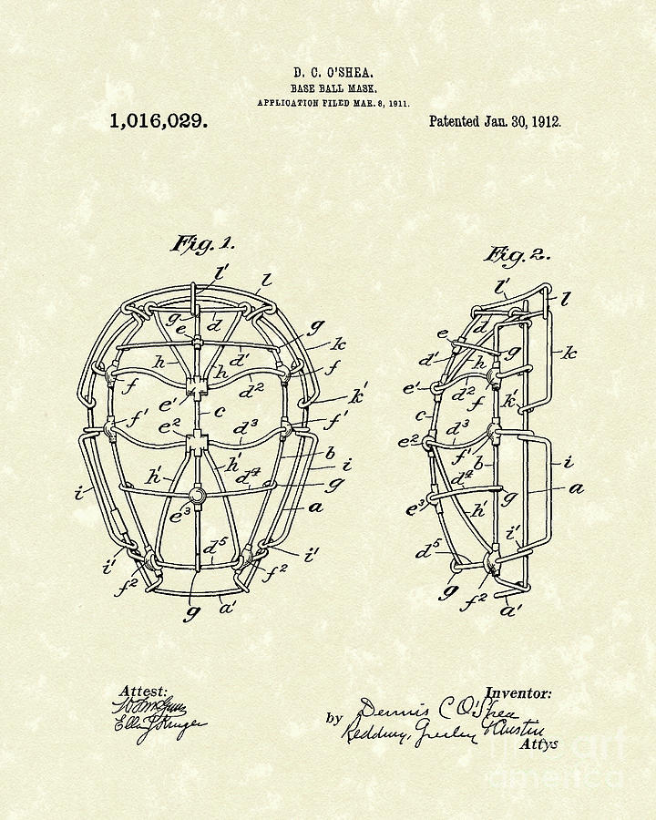 Baseball Drawing - Baseball Mask 1912 Patent Art by Prior Art Design