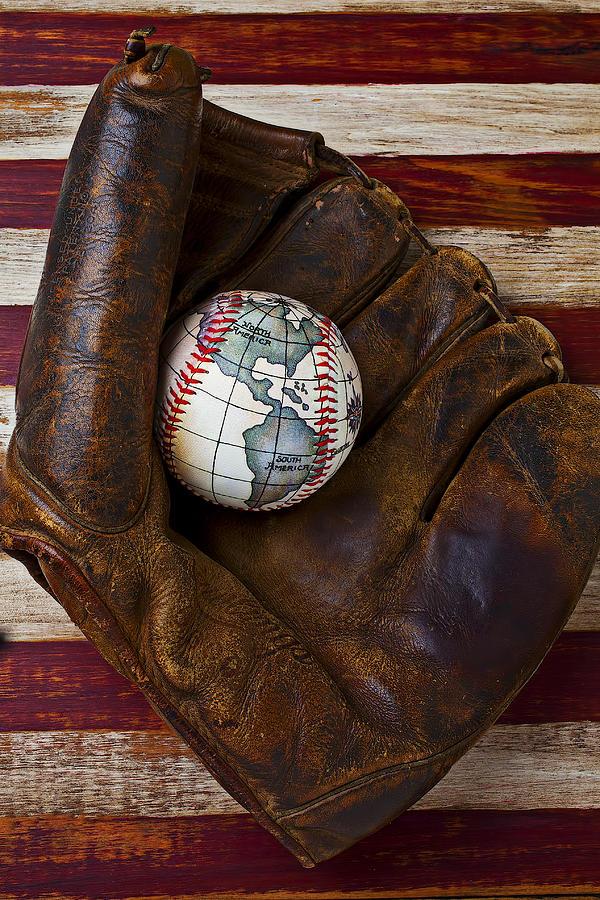 Flags Photograph - Baseball Mitt With Earth Baseball by Garry Gay