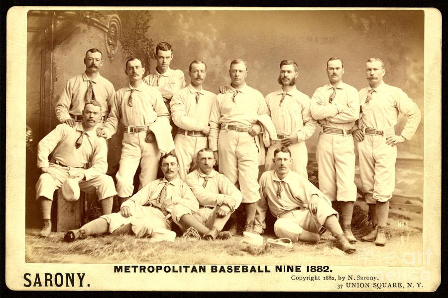Wrigley Field Photographs Painting - Baseball Panoramic Metropolitan Nine Circa 1882 by Pg Reproductions