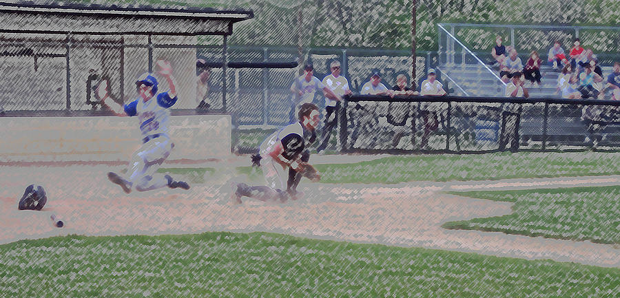 Sports Digital Art - Baseball Runner Safe At Home Digital Art by Thomas Woolworth