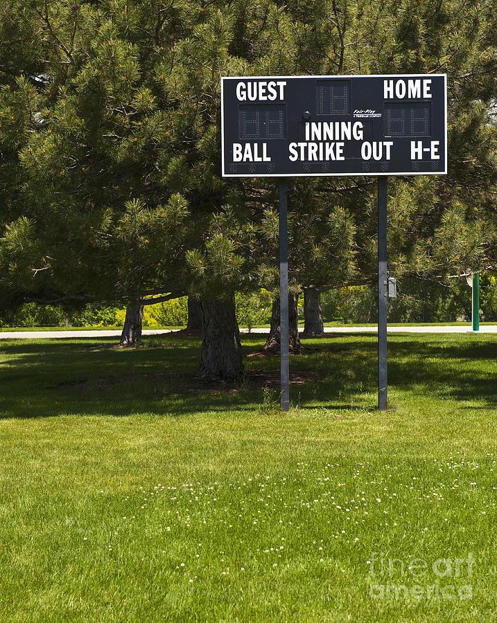 Baseball Photograph - Baseball Scoreboard by Thom Gourley/Flatbread Images, LLC