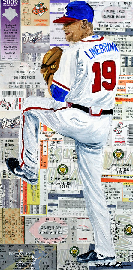 Baseball Painting - Baseball Tickets by Michael Lee