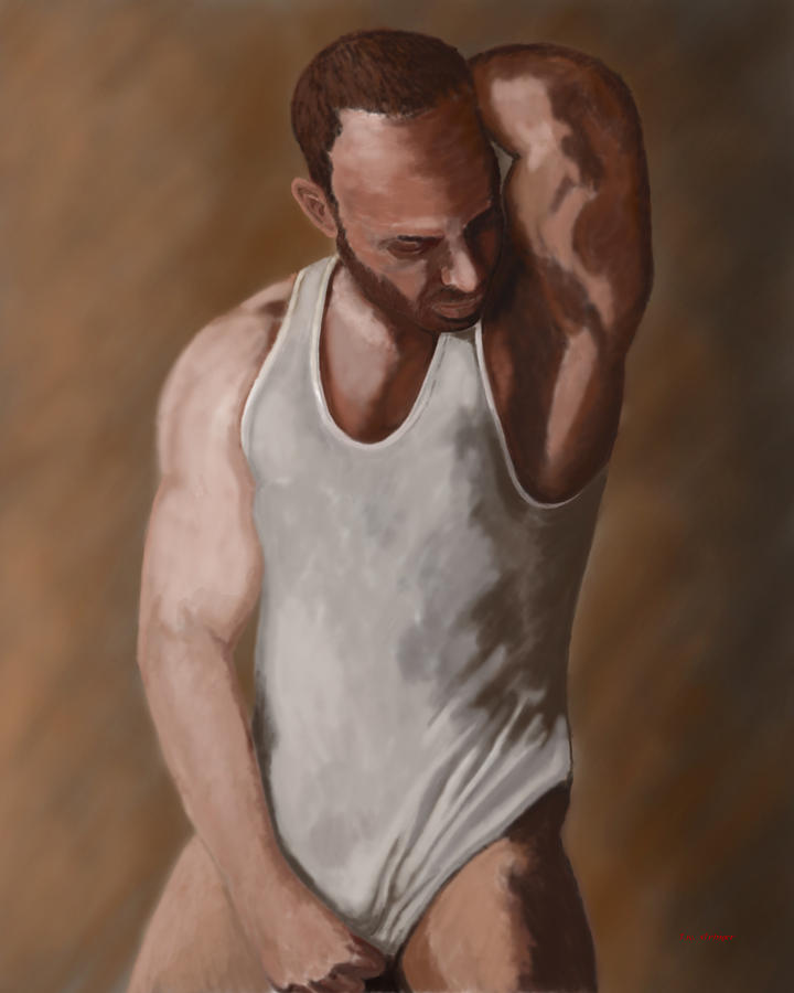 Male Painting - Bashful Poser by Tim Stringer