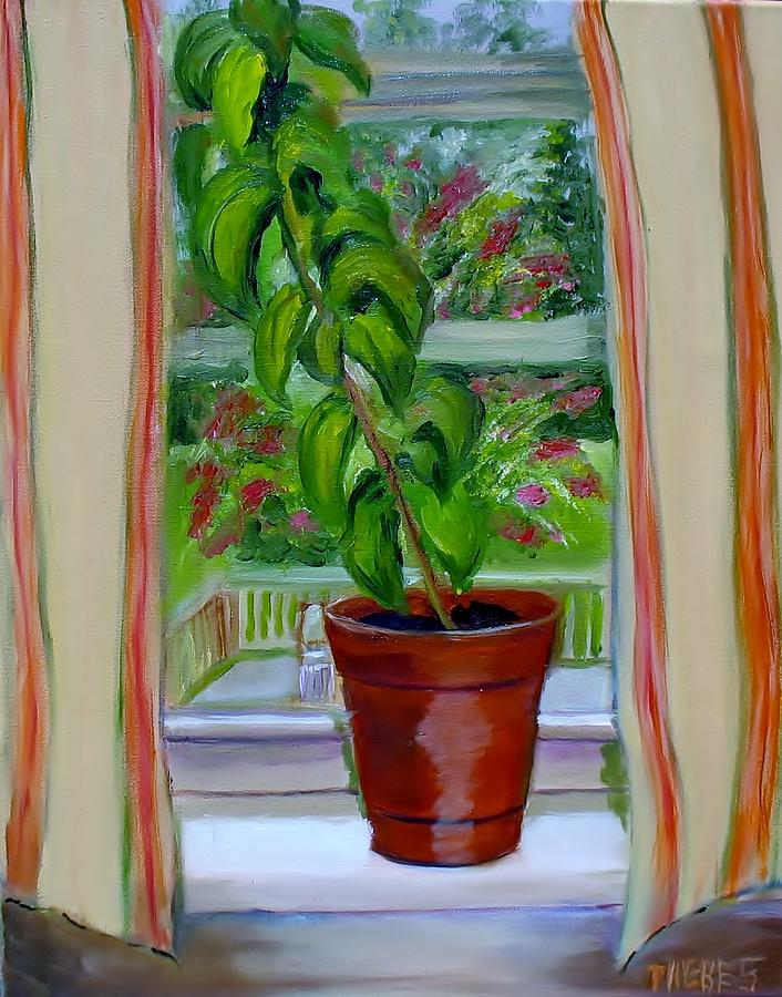 Plants Painting - Basil In My Window by Phebe Smith