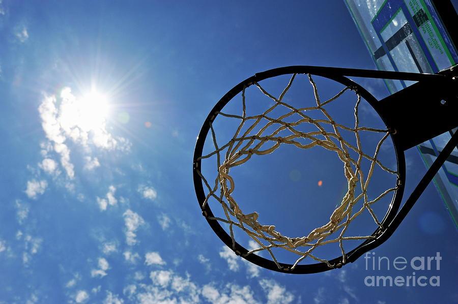 Aspirations Photograph - Basketball Hoop And The Sun by Sami Sarkis