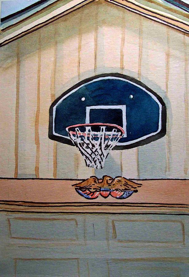 Basketball Painting - Basketball Hoop Sketchbook Project Down My Street by Irina Sztukowski