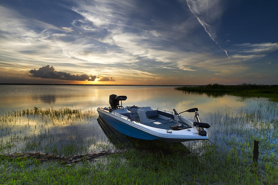Boats Photograph - Bass Fishin Evening by Debra and Dave Vanderlaan