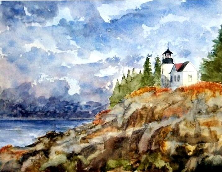 Lighthouse Painting - Bass harbor by Travis Kelley