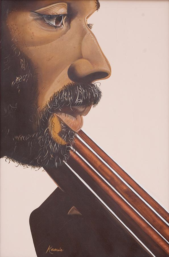 Playing; Musician; Player; African-american; Music; Male; Portrait; Close-up; Moustache; Beard; Profile; Musical Instruments; Double Bass; African American; Black Art; Bass Painting - Bass Player Iv by Kaaria Mucherera