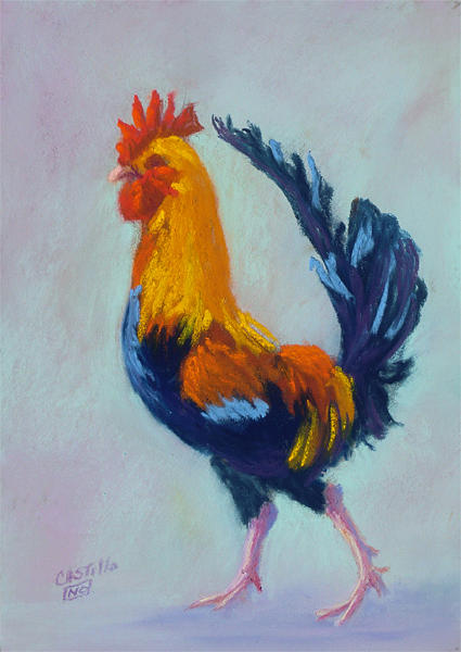 Rooster Painting - Bastrop Resident by Jo Castillo
