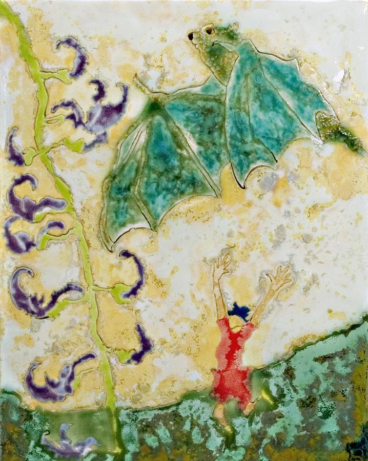 Bat Ceramic Art - Bat With Woman In Red Dress by Samantha Henneke