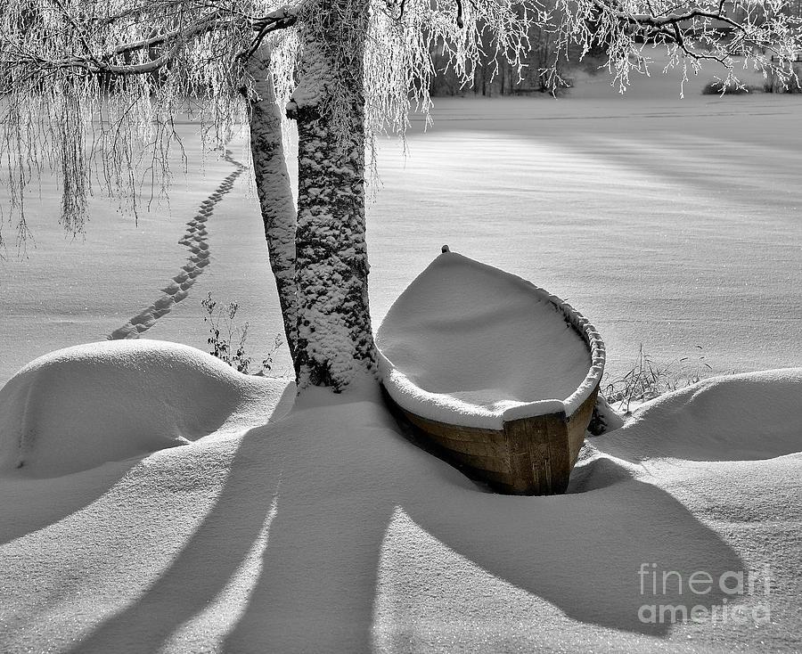 Rowboat Photograph - Bath And Snowy Rowboat by Ari Salmela
